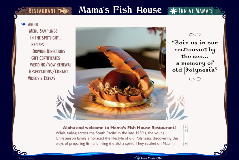 Mama 39 s fish house is top 5 restaurant in us by opentable for The inn at mama s fish house